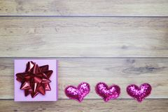 Flat-lay background for Valentine`s Day, love, hearts, gift box Copy space royalty free stock photos