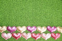 Flat-lay background for Valentine`s Day, love, hearts, gift box Copy space stock images