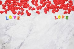 Flat-lay background for Valentine& x27;s Day, love, hearts, gift box Copy space royalty free stock images