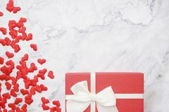 flat-lay background for Valentine`s Day, love, hearts, gift box Copy space stock photography