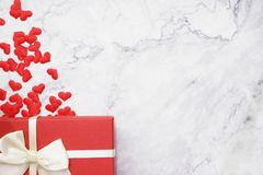 Flat-lay background for Valentine`s Day, love, hearts, gift box Copy space stock photo