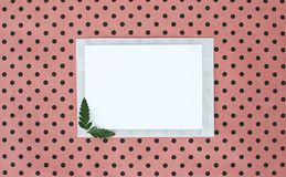 Flat, lay, background with white paper sheet for text and fern leaves, top view, polka dots background, natural color stock photos
