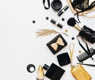 Flat Lay, Beauty blog concept. Female make up and accessories on white background. royalty free stock images