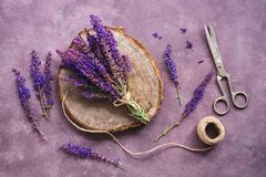 Flat lay a bouquet of purple wildflowers of sage, an empty wooden stump and scissors on a beautiful rustic purple background.