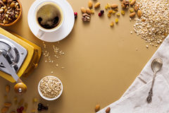 Flat lay of breakfast meal with coffee and oat Royalty Free Stock Images