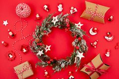 Flat lay with bright christmas decoration. New year and christmas celebration concept. Flat lay with bright christmas decoration. New year celebration and stock images