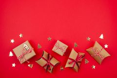 Flat lay with bright christmas decoration. New year and christmas celebration concept. Flat lay with bright christmas decoration. New year celebration and royalty free stock image