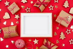 Flat lay with bright christmas decoration. New year and christmas celebration concept. Flat lay with bright christmas decoration. New year celebration and royalty free stock photos