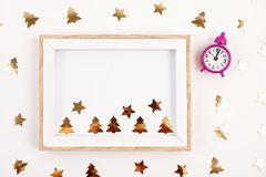 Flat lay with bright christmas decoration. New year and christmas celebration concept. Flat lay with bright christmas decoration. New year celebration and royalty free stock photo