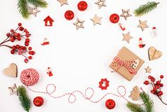 Flat lay with bright christmas decoration. New year and christmas celebration concept. Flat lay with bright christmas decoration. New year celebration and stock photos