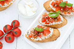 Flat lay with bruschettas with cream cheese, tomatoes and basil. Top view. Copy space Stock Photography