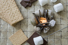 Flat lay camp fire s`mores deconstructed stock photography