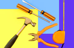 Flat lay carpenter tools composition Royalty Free Stock Photo