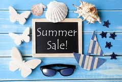Blackboard With Maritime Decoration And Text Summer Sale Stock Photography