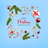 Flat lay Christmas card. Flat lay, top view Christmas composition with fir tree branches on light holiday background. Natural design elements. Festive background Royalty Free Stock Photography