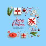 Holiday boxes card. Flat lay Christmas composition with fir tree branches on light holiday background. Top view of Natural design elements. Festive background Royalty Free Stock Photos
