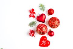 Flat lay Christmas composition with heart, branch, Christmas candy, stripes, Christmas tree, ball, angel, bell and holiday. Flat lay Christmas composition with royalty free stock photos