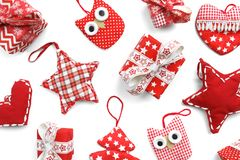 Flat lay. Christmas, gifts, Christmas boxes and Christmas toys on a white table stock photo