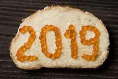 Flat lay closeup of sandwich with 2019 text made of red caviar royalty free stock photo