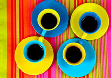 Flat lay coffee bright cups Stock Image