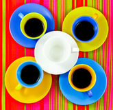 Flat lay coffee bright cups Stock Photography