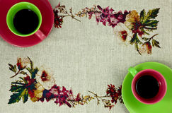 Flat lay coffee two cups green and red Stock Photo