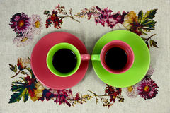 Flat lay coffee two cups green and red Royalty Free Stock Images
