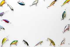 flat lay colorful fish bait