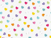 Flat lay of colorful heart shaped paper scattered on white background. Seamless pattern vector illustration stock photo