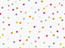 Flat lay of colorful round paper confetti on white background. Seamless pattern. Vector illustration royalty free stock photos