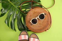 Flat lay composition with bamboo bag. On color background royalty free stock images