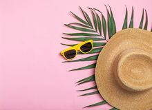 Flat lay composition with beach objects. On color background stock photos