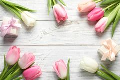 Flat lay composition of beautiful spring tulips on wooden background, space for text. International Women`s Day royalty free stock photos