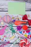 Flat lay composition with Birthday party items. stock photo