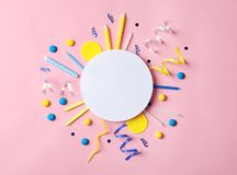 Flat lay composition with birthday party items on pink background. Flat lay composition with birthday party items on color background Royalty Free Stock Photo