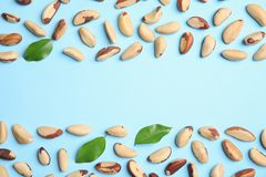 Flat lay composition with Brazil nuts, leaves. And space for text on color background stock photography