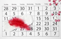 Flat lay composition with calendar, menstrual pad. And pills. Gynecological checkup stock image