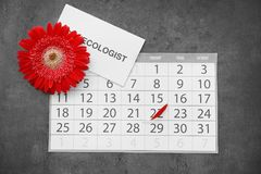 Composition with calendar and red flower on grey background. Gynecological care. Flat lay composition with calendar and red flower on grey background stock photography