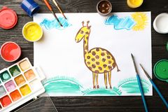 Flat lay composition with child`s painting royalty free stock photos