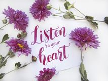 Flat lay composition with chrisanthemums and lettering card `Listen to your heart` Stock Images