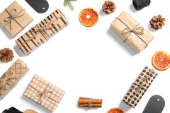 Flat lay composition with Christmas gifts o royalty free stock image