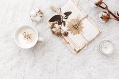 Flat lay composition with coffee, dry flowers, cotton and old letters. stock photography