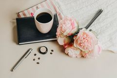 Morning flat lay composition royalty free stock photography