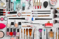 Flat lay composition with cosmetic products. On marble background Royalty Free Stock Photos