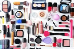 Flat lay composition with decorative cosmetics on white background stock photos