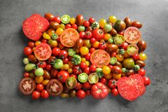 Flat lay composition with different tomatoe Royalty Free Stock Photos