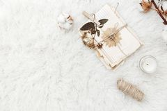 Flat lay composition with dry flowers. And old letters. vintage postcards and envelopes stock photo