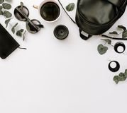 Flat Lay Composition of elegant womans fashion look. royalty free stock image