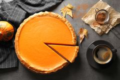 Flat lay composition with fresh delicious homemade pumpkin pie royalty free stock images