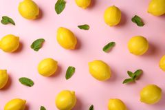 Flat lay composition with fresh ripe lemons stock photo